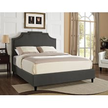 Keystone Nail Head Headboard - Queen / Full- Charcoal