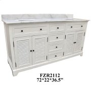 "Cottage White 4 Louvered Doors 4 Drawer 72"" Double Vanity Sink Product Image"