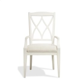 Myra XX-Back Upholstered Arm Chair Paperwhite finish