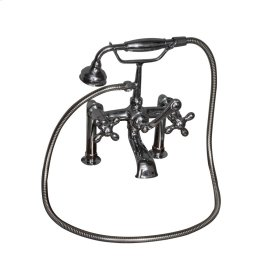 Tub Rim-Mounted Filler with Hand-Held Shower - Metal Cross Handles - Polished Chrome