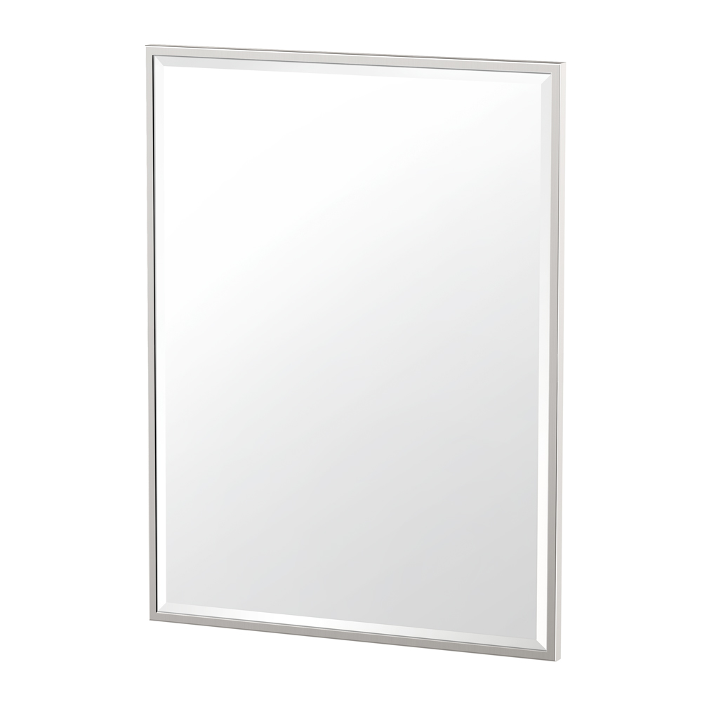 Flush Mount Framed Rectangle Mirror in Satin Nickel