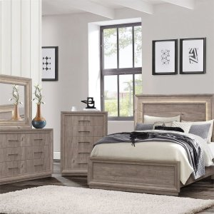Liberty Furniture Industries  King Panel Bed, Dresser & Mirror, Chest