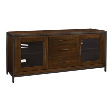 """This classic wood TV stand can accommodate most flat screen TVs up to 70"""" o..."""