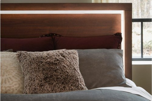 Eastern King Platform Bed with Footboard Storage, LED Lighting