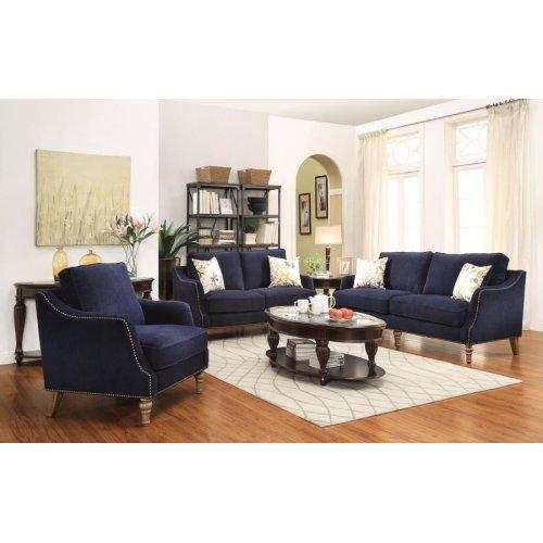 Traditional Blue Three-piece Living Room Set