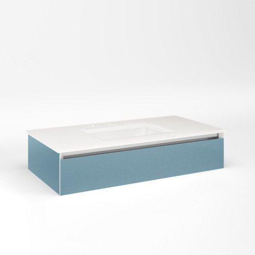 """Cartesian 36-1/8"""" X 7-1/2"""" X 18-3/4"""" Slim Drawer Vanity In Ocean With Slow-close Plumbing Drawer and No Night Light"""