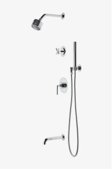 "Flyte Pressure Balance Shower Package with 3 1/4"" Shower Head, Handshower, Tub Spout and Diverter Cross Handle STYLE: FLSP23"