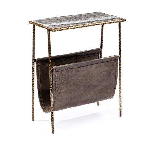 Strauss Magazine Table - Grey/ Brass
