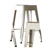 "24"" Metal Stool, White"