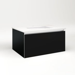 """Cartesian 30-1/8"""" X 15"""" X 21-3/4"""" Single Drawer Vanity In Black With Slow-close Plumbing Drawer and Night Light In 5000k Temperature (cool Light)"""