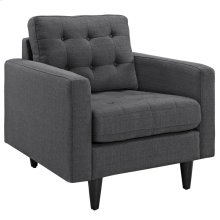 Empress Upholstered Fabric Armchair in Gray