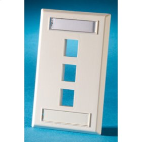 Single gang plastic faceplate, holds three Keystone jacks or modules, Cloud White