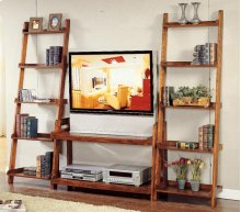 Pecan Finish Ladder TV Stand - 2 Shelves
