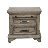 Bristol 3 Drawer USB Charging Nightstand in Elm Brown Product Image