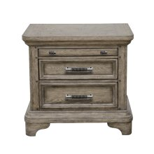 Bristol 3 Drawer USB Charging Nightstand in Elm Brown