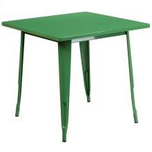 31.5'' Square Green Metal Indoor-Outdoor Table