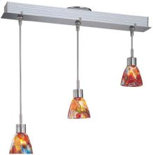 3-lite Ceiling Lamp, Ps W/colored Red Glass Shd, Mr16 35wx3