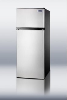 "Frost-free refrigerator-freezer with stainless steel doors and icemaker in slim 24"" width"