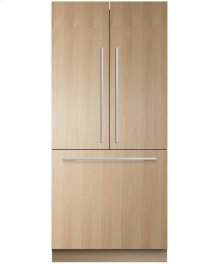 """Integrated French Door Refrigerator Freezer, 36"""", 16.8 cu ft, Panel Ready, Ice"""
