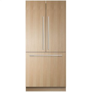 "Fisher & PaykelIntegrated French Door Refrigerator Freezer, 36"", 16.8 Cu Ft, Panel Ready, Ice"