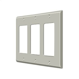 Switch Plate, Triple Rocker - Brushed Nickel