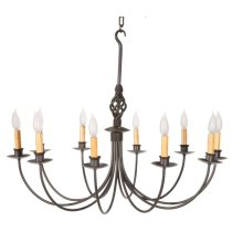 Basketweave 10 Arm Iron Chandelier