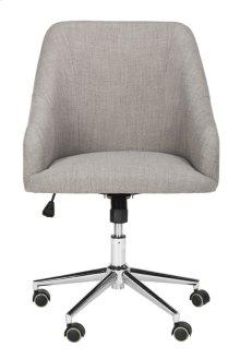 Adrienne Linen Chrome Leg Swivel Office Chair - Grey / Chrome