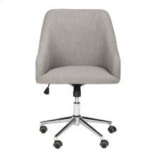 Adrienne Linen Chrome Leg Swivel Office Chair - Grey / Chrome