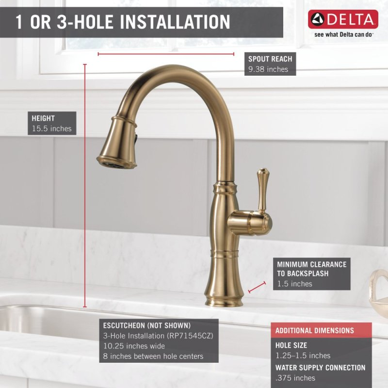 Hidden Additional Champagne Bronze Single Handle Pull Down Kitchen Faucet