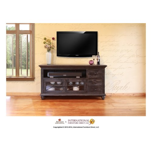 62in TV Stand w/3 drawers, 2 doors - Black Finish