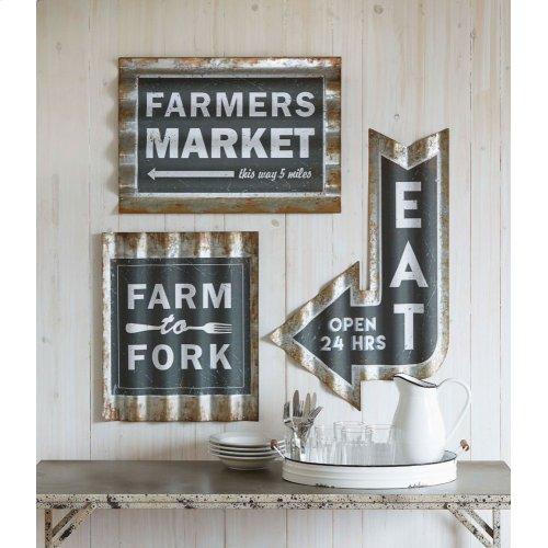 "Rusted Galvanized Corrugated ""Farmers Market"" Wall Decor"