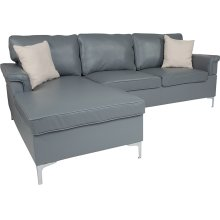 Boylston Upholstered Plush Pillow Back Sectional with Left Side Facing Chaise in Gray Leather
