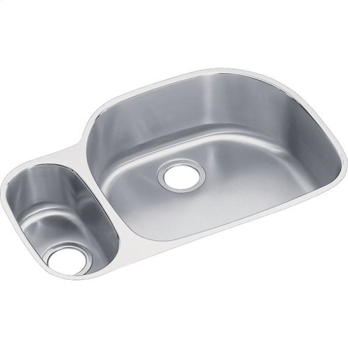 "Elkay Lustertone Classic Stainless Steel 31-1/2"" x 21-1/8"" x 10"", 30/70 Offset Double Bowl Undermount Sink Kit"