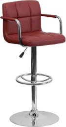 Contemporary Burgundy Quilted Vinyl Adjustable Height Barstool with Arms and Chrome Base Product Image