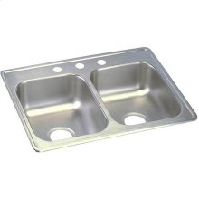 "Dayton Stainless Steel 25"" x 19"" x 6-5/16"", Equal Double Bowl Drop-in Sink"