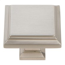 Sutton Place Square Knob 1 1/4 Inch - Brushed Nickel