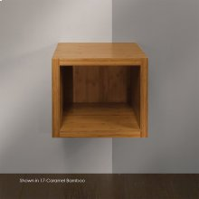 "Wall-mount open cubby vanity. Cut-outs provided upon request. 19 1/8""W, 17 1/2""D, 16""H."