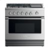 "Fisher & Paykel Dual Fuel Range, 36"", 4 Burners With Griddle, Lpg"