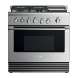 "Fisher & PaykelDual Fuel Range, 36"", 4 Burners with Griddle"