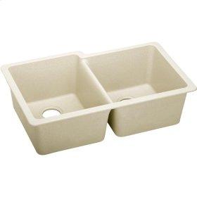 """Elkay Quartz Luxe 33"""" x 20-1/2"""" x 9-1/2"""", Offset Double Bowl Undermount Sink, Parchment"""
