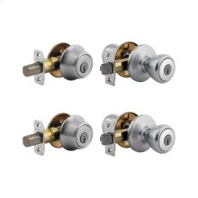 2 Keyed Tylo Knobs with 2 Single Cylinder Deadbolts Project Pack - Satin Chrome