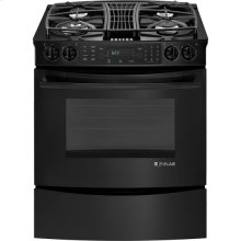 "Slide-In Gas Downdraft Range with Convection, 30"", Black Floating Glass w/Handle"