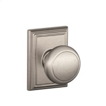 Andover Knob with Addison trim Hall & Closet Lock - Satin Nickel