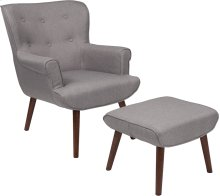 Bayton Upholstered Wingback Chair with Ottoman in Light Gray Fabric