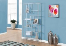 """BOOKCASE - 72""""H / SILVER METAL WITH TEMPERED GLASS"""