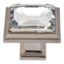 Legacy Crystal Square Knob 1 5/16 Inch - Brushed Nickel
