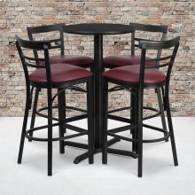 24'' Round Black Laminate Table Set with X-Base and 4 Two-Slat Ladder Back Metal Barstools - Burgundy Vinyl Seat
