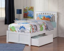 Mission Twin Flat Panel Foot Board with 2 Urban Bed Drawers White