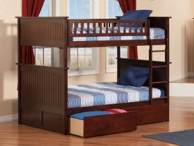Nantucket Bunk Bed Full over Full with Urban Bed Drawers in Walnut