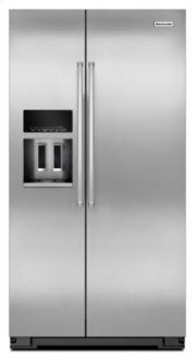 GREAT PRICE - GREAT BRAND - KitchenAid 20 Cu. Ft. Counter Depth Side-by-Side Refrigerator with Exterior Ice and Water - Monochromatic Stainless Steel